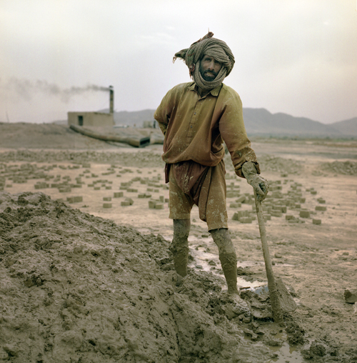 Afghan laborer at brick factory